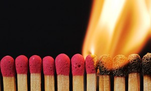 Lit Matches in a row